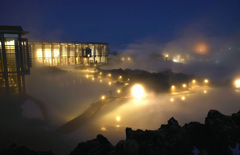 Blue Lagoon Geothermal Pool at Night
