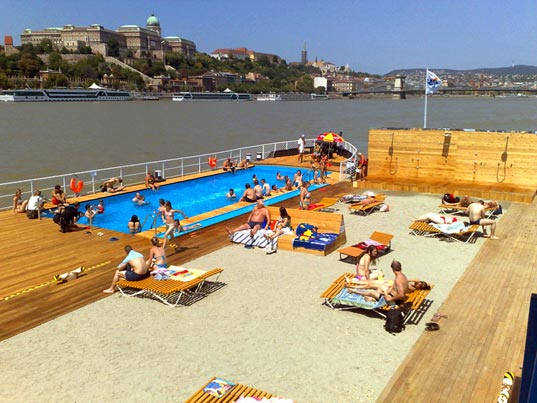 Barge Beach Budapest Floating Pool