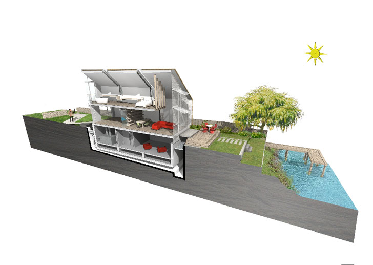 Amphibious House Under Normal Conditions