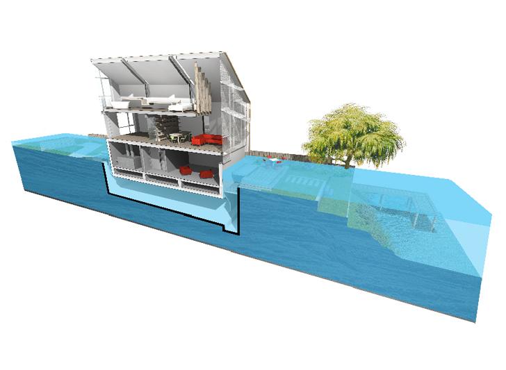 Amphibious House Under Flood Conditions