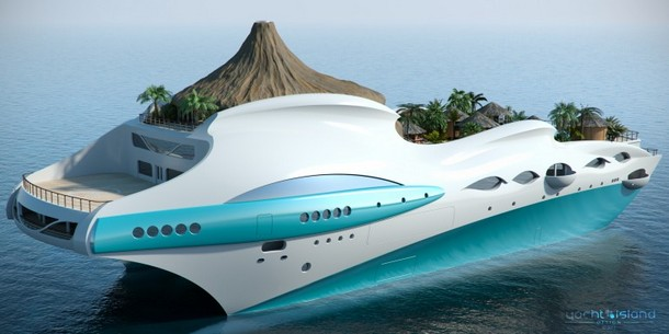 Tropical Yacht with Fake Volcano