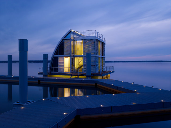 German Floating Home and Dock at Night
