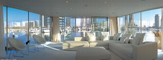 Interior Living area on the Dubai Houseboat