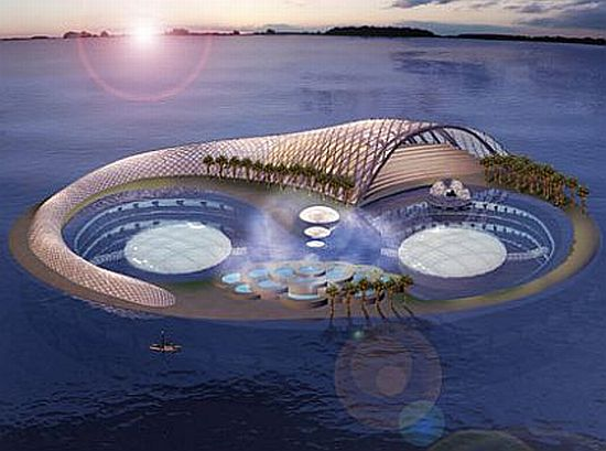 Aerial View of the Dubai Underwater Hotel