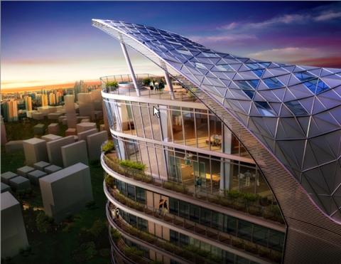 Rooftop of the Mumbai Apartment Complex Aquaria Grande