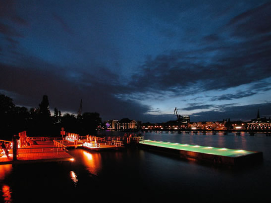 The Badeschiff Floating Pool at Night