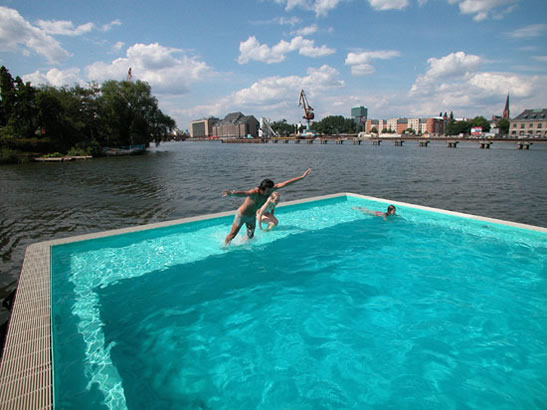German Swimmers Romp near the Spree River