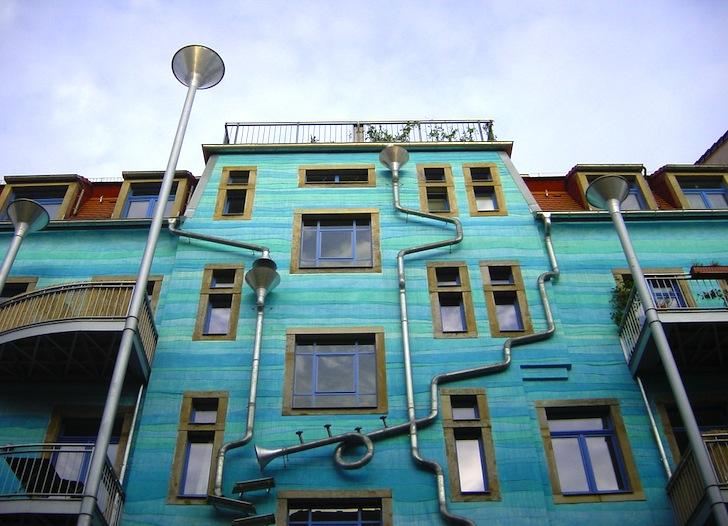 Funky Blue Building Facade