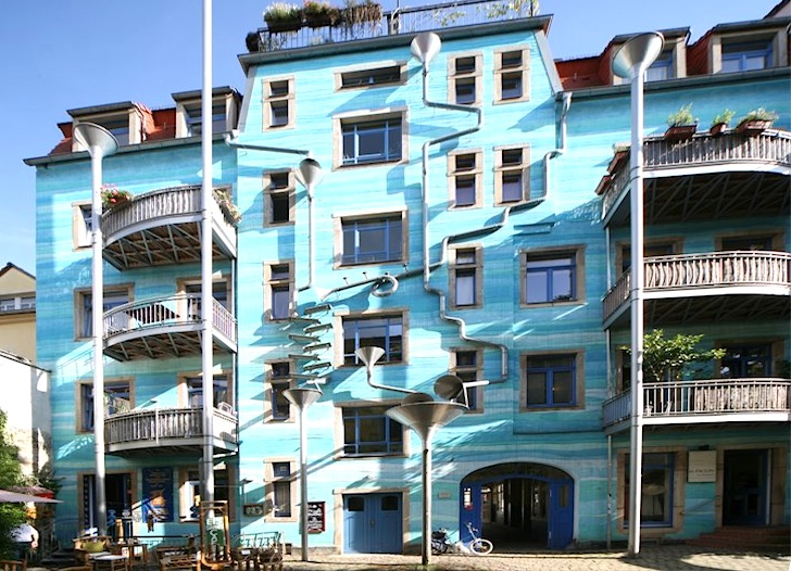 Street View of the Funky Blue Building