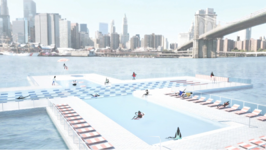 Rendering of Swimmers Lounging at the New York +Pool