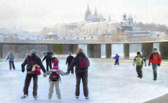 The Vltava Floating Pool Converted into an Ice Rink
