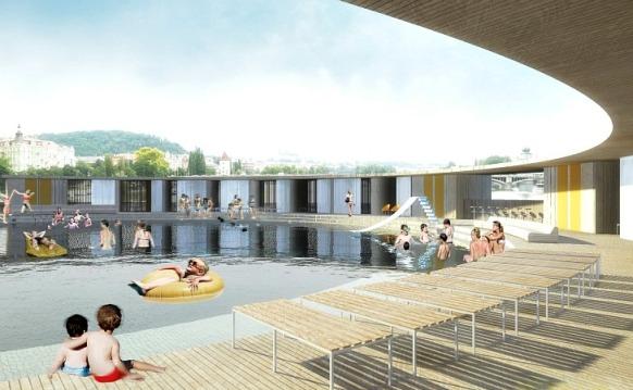 The Vltava River Floating Pool Design