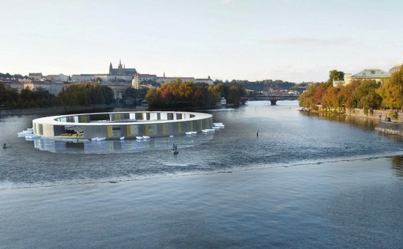 The Vltava River Floating Swimming Pool