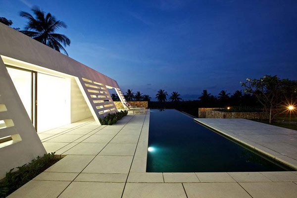 Thai Home Swimming Pool at Dusk