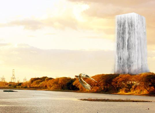 Skyscraper Zoo with Waterfall