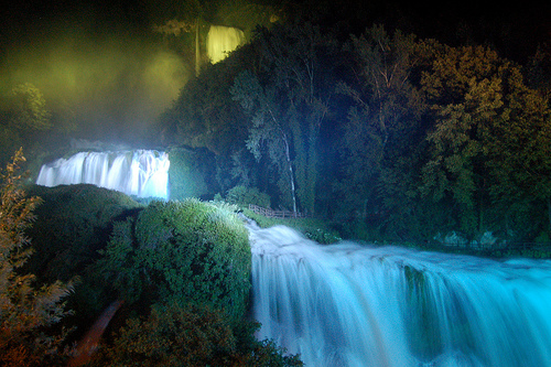 Cascata delle Marmore Waterfall at Night