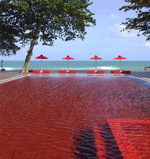the eerie blood red swimming pool in koh samui thailand fpsbutest