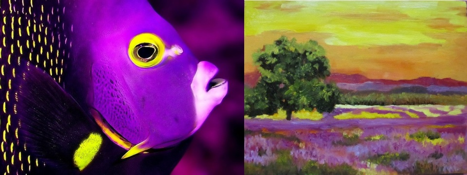 Purple and Yellow Painting Fish
