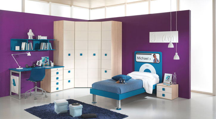 purple and blue boys bedroom with ipod nano