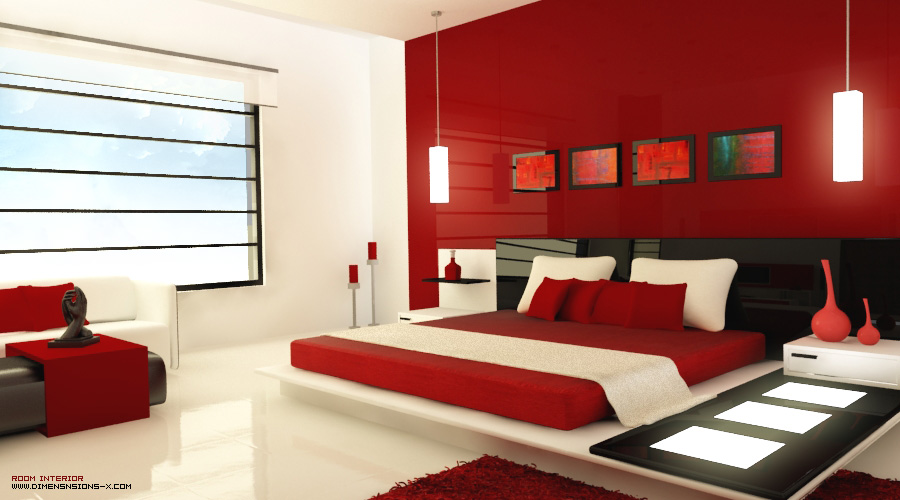Red White and Black Modern Bedroom