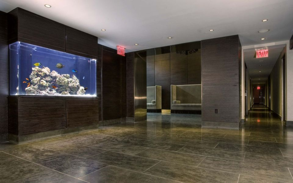 Modern Office Building with Aquarium