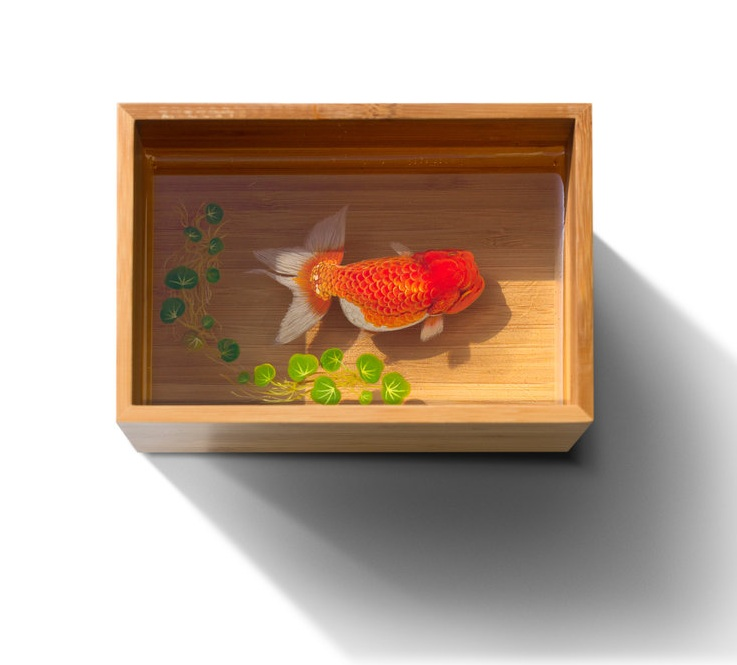 Acrylic Art Piece with Goldfish