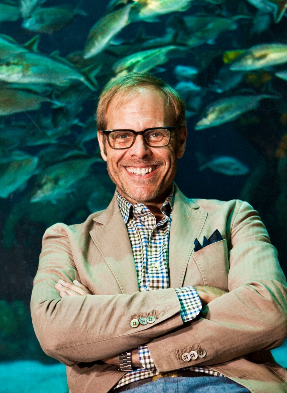 Alton Brown with Custom Aquarium
