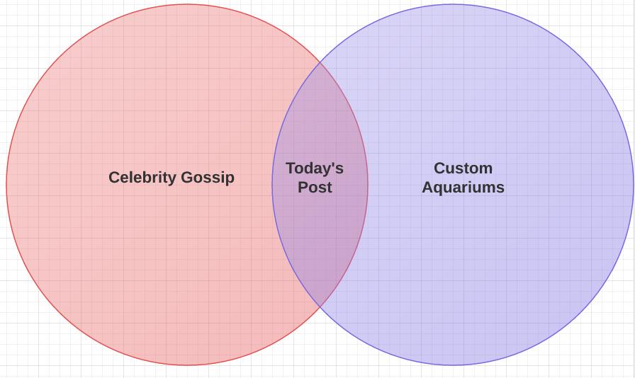 Venn Diagram: Celebrity Gossip and Custom Aquariums