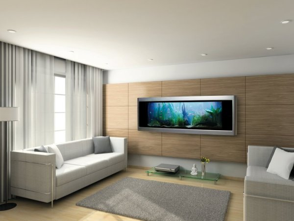 Wall-Mounted Aquarium in Modern Room